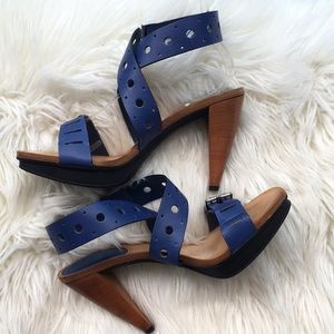 "Tod's Royal Blue ""Sasha Gomma"" Platform Sandals"